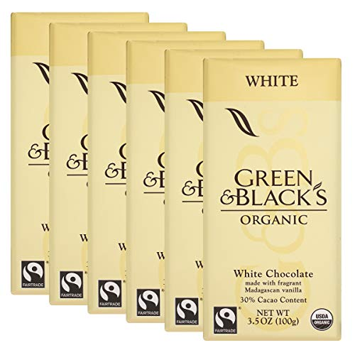 Green & Black's Organic White Chocolate Candy Bars, 6 Count -