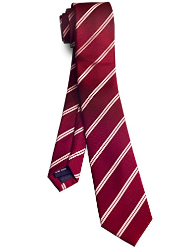 WANDM Men's Slim Skinny Tie Business Necktie Width 2.4 inches Washable Double Stripe Burgundy Wine Red and - Stripes Mens Necktie