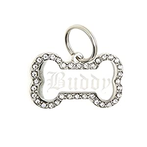 Custom Engraved Personalized Stainless Steel Bone Shape Swaroski Zirconia Dog Pet ID Jewelry Bling Tag
