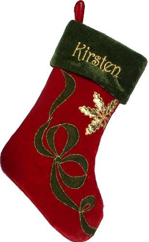 velvet redolive cuff ribbon snowflake custom christmas stockings monogramed - Velvet Christmas Stockings
