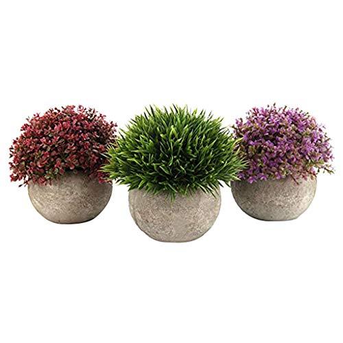Maikouhai Artificial Green Fake Grass Bonsai Art Plant with Gray Pot (Set of 3, Red & Green & Pink, 12.5cm)