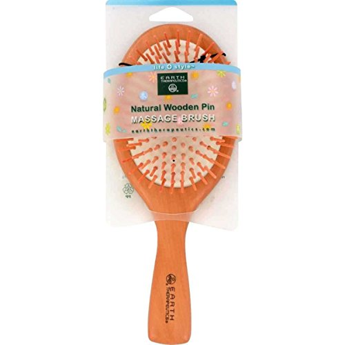 Earth Therapeutics Natural Wooden Pin Massage 1 Unit Brush, Large
