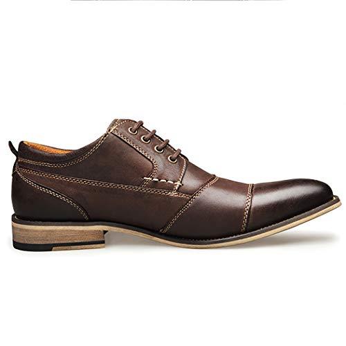 Oxford Hombre Cuero Coffee Business Zapatos Casual Derbies up Encaje Grande Barco Lymyy De Plano Eqw1xXBT