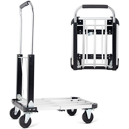 Goplus Folding Platform Truck Heavy Duty Portable 4-Wheel Dolly Cart, Height and Length Adjustable, 330-lb Capacity, Silver by Goplus