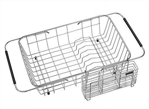 Expandable Dish Drying Rack and Utensil Holder, 304 Stainless Steel Over Sink Dish Rack, Dish Drainer in Sink or On Counter, Rustproof