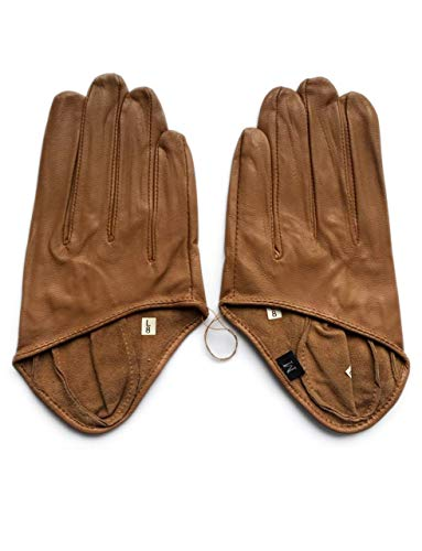 - May&Maya Women's Half Palm Premium Leather Driving Gloves Brown Size S
