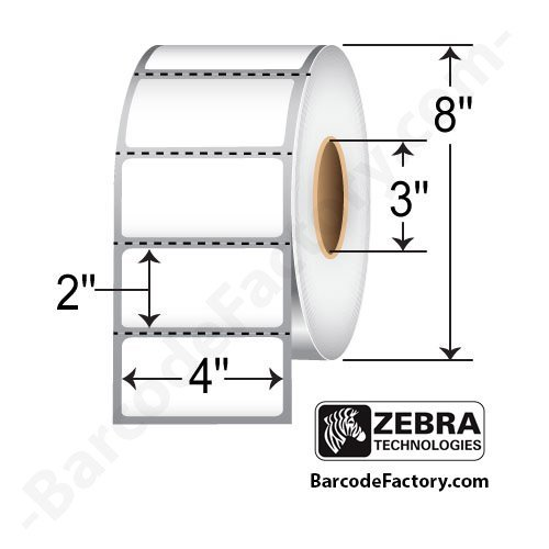 Zebra Technologies 10003051 Z-Perform 1000D Paper Label, Direct Thermal, 4