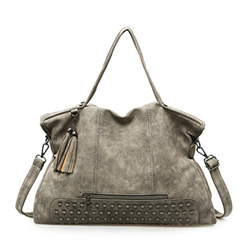 Large Tassel Gray Bag Bags Women Shoulder Vintage Tote Messenger Bag Feminina Women 43cm red Rivet Leather Nubuck Bag Capacity UqPAX