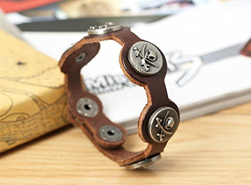 Button Adjustable Skull Bones Leather ET Heads Katana Pattern Wrist Bracelet Brown