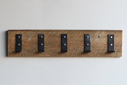 Reclaimed Wood Coat Hook Rack, 30 Inches, 5 Hooks, Mounted (Amish Handcrafted in Lancaster County from Reclaimed Barn Wood) | by Urban - West County Stores