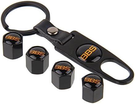 Keychain Tire Valve Stem Caps Tube Valve Cover For MOPAR b Metal Black Set jB257