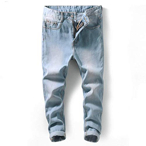 Alta Pantaloni A Blu Casual Slim Vintage Fashion Da Uomo Pittura Jeans Denim Stretch Fit Dritto Giovane Saoye Stile Vita xIZEUq44