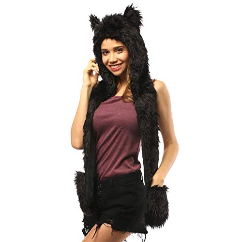 Panther Hat Animal Faux Fur Hoodie Furry Hood Scarf Gloves Mittens Burning Man Headwear Rave Clothes Festival (Black Panther)]()