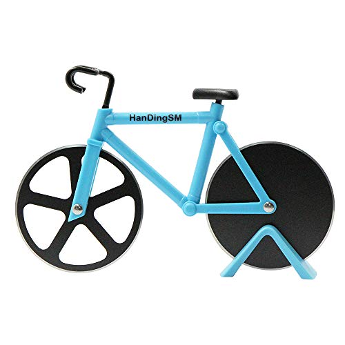 Bicycle Pizza Cutter Wheel, Bike Pizza Slicer Dual Stainless Steel Non-stick Cutting Wheels With a Stand, best for Holiday Vacation Housewarming Cool Kitchen Gadget Cool Mens Gift