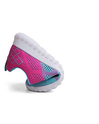 Amortiguador Running Viajes Superior Al Malla con Cordones Rosado de Universidad Adolescentes de Aire Transpirable Zapatos Azul Mujeres Aire Zapatos La Colorido de Libre OxwR8