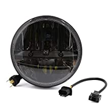 """uxcell® 7"""" Round LED Headlight For Jeep Wrangler Harley Davidson Black Motorcycle Car H4 H13 High Low Beam Headlamp Bulb"""