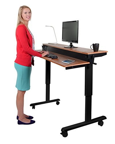 Crank Adjustable Sit to Stand Up Desk with Heavy Duty Steel Frame (60', Black Frame / Teak Top Variant)