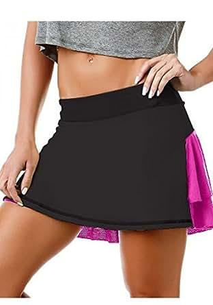 Sexy Workout Skort, Brazilian Yoga Skirt Shorts, Cute Gym Skort 5621 Pink Black (Small)