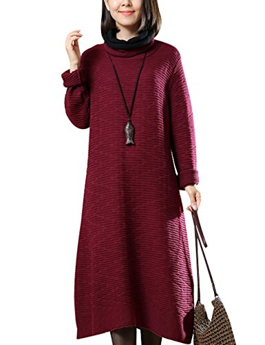 Neck Punto Rojo Jersey De Cowl Otoño Youlee Vestido Mujeres Rw40a8t