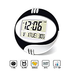 Round Digital Clock,Large Digital Clock with Large LCD Screen with Time/ Alarm/ Snooze/ Month/ Date/ Weekday/ Indoor Temperature (Black&Silver)