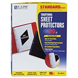 Traditional Polypropylene Sheet Protector, Standard Weight, 11 x 8 1/2, 50/BX, Sold as 2 Box, 50 Each per Box