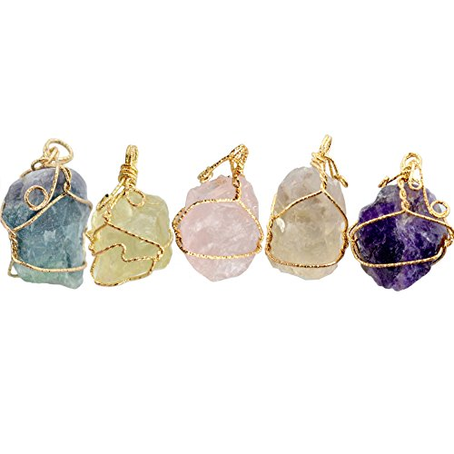 Omonic 100% Natural Irregular Amethyst Quartz Crystal Citrine fluorite Chakra Pendant HandMade Necklace With Golden Chain (Amethyst) Wire Wrapped Crystal