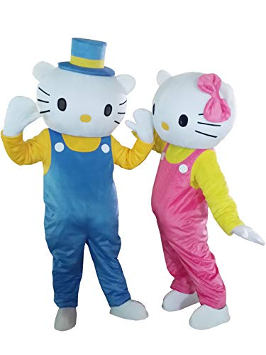 Hello Kitty Cat and Daniel Star Adult Mascot Costume Cosplay Fancy Dress Outfit (Kitty and Daniel Star)