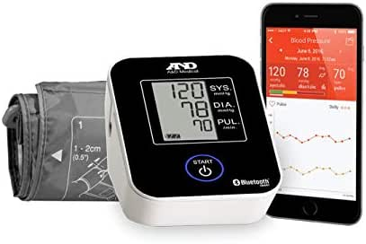 A&D Medical Upper Arm Blood Pressure Monitor with Bluetooth and Medium Cuff (UA-651BLE)