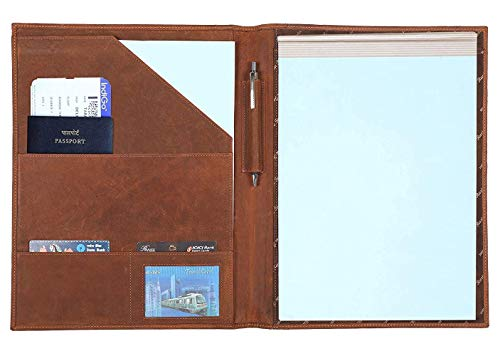 Handmade Leather Luxury Business Portfolio by Rustic Town | Professional Organizer Gift for Men & Women | Durable Leather Padfolio 3 + 1 Sleeves for documents and Notepad (Brown)