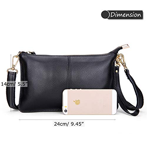 Zipper Bag Shoulder Cow Orange Pocket Phone Wallet Leather Black Cell Bag Small Crossbody Women Purse Classic Simple WgUOfqOPnX