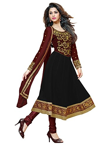 Sourbh Women's Black Faux Georgette Embroidered Semi-Stitched Partywear Dress Material by Sourbh