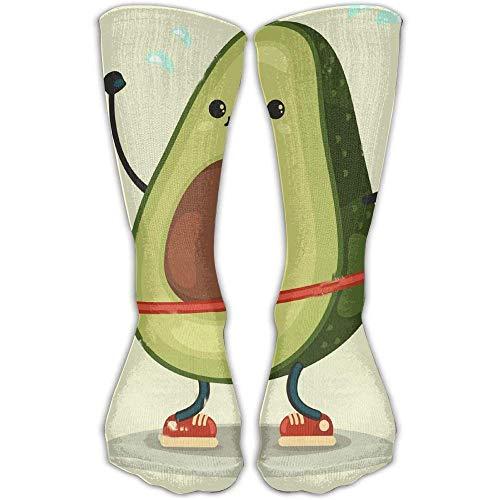 SOCKS164 Design Cute Avocado Doing Exercises with Hula Hoop Stylish Art Knee High Socks for Women &Girl ()
