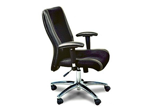"""Mercado High Back Leather and Mesh Executive Chair Black Leather/Mesh Fabric Dimensions: 26.5""""W x 26""""D x 38.5""""H Seat Dimensions: 19.5""""Wx17.5""""Dx19.5-24""""H"""