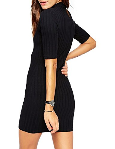 Sexy Moitié Manche Slim Femme Tortue Cou Robe Solide
