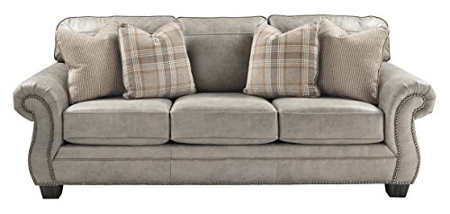 Ashley Furniture Signature Design - Olsberg Traditional Sofa with Nailhead Trim - Accent Pillows Included - Steel