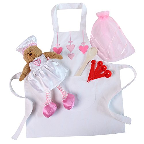 Girls White Heart Apron and Baker Bear Gift Set
