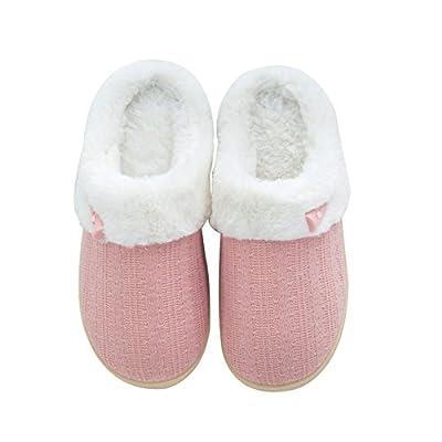 NineCiFun Women's Slip on Fuzzy Slippers Memory Foam House Slippers Outdoor Indoor Warm Bedroom Shoes Fur Lined