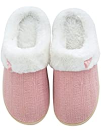 Womens Fuzzy Winter Slippers Outdoor House Slippers Fur Lined