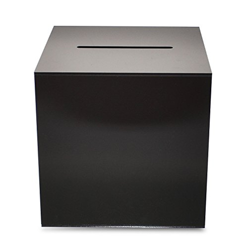 Source One Premium Acrylic Cube Donation Box with Deluxe Rear Open Door and Cam Lock Suggestion Box (8 Inch, Black) -