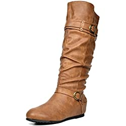 DREAM PAIRS Women's JOIES Camel Knee High Low Hidden Wedge Boots Size 8.5 M US