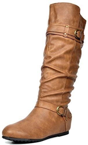 DREAM PAIRS Women's Joies Camel Knee High Low Hidden Wedge Boots Size 7.5 M US