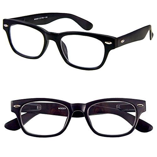 I NEED YOU Designer Woody Black Reading Glasses Prescription Eyeglasses For Men & Women Spring Hinge And High-Quality Plastic Eyeglasses Power Glass With Strength - Cyber Glasses Eyes
