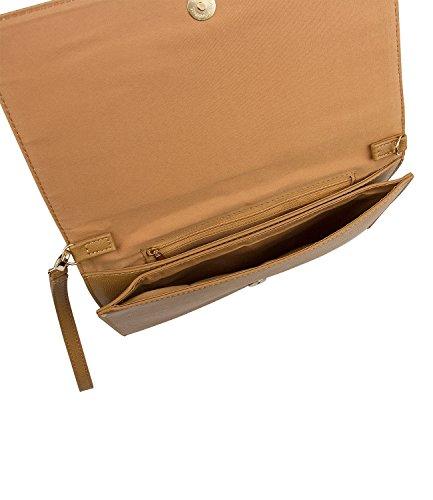 SIX Basic Damenhandtasche, Clutchbag, Abendtasche in beige, hellbraun mit goldenem Reißverschluss, abnehmbare Handschlaufe und Umhängegurt (463-497)