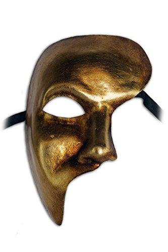 Gold Venetian Half Mask With Hat (Venetian Half Face Mask Phantom for Men (gold))