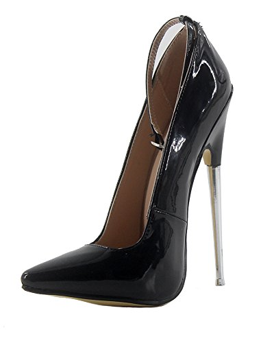 Wonderheel with stilleto patent heel shoes ankle metal high strap heel 7