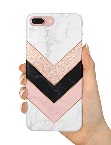 uCOLOR Case Compatible iPhone 8 Plus/7 Plus 6s Plus/6 Plus Cute Matt Case Rose Gold Glitter Triangle White Marble Soft TPU Silicone Shockproof Cover for iPhone 8 Plus/7 Plus/6S Plus/6 Plus(5.5