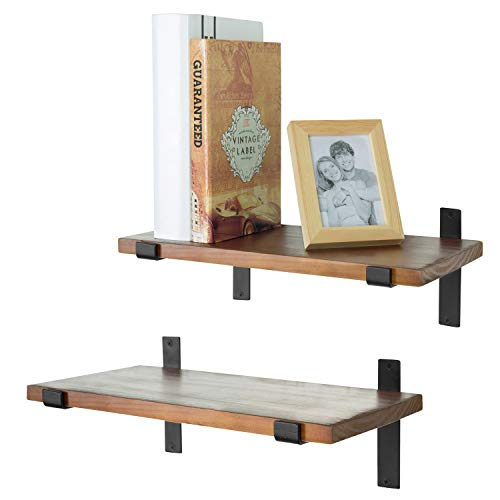 MyGift 15-Inch Industrial Style Wall-Mounted Wood Floating Shelf with Black Metal Brackets, Set of 2 ()