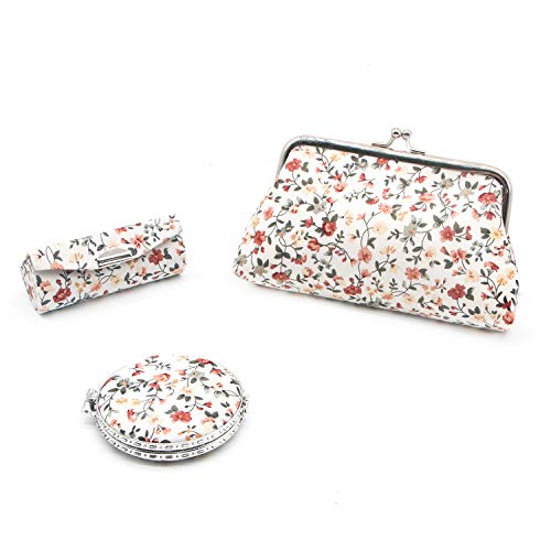 HUELE Women's Set of 3 Floral Cosmetic Organizer Kiss-Lock Clasp Clutch Purse Lipstick Travel Case with Mirror Pocket-Size Travel Compact Mirror