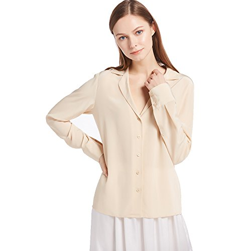 LilySilk Women's 100% Silk Blouse Long Sleeve V Neck Ladies Shirt 18 Momme Silk Shifting Sand Size M