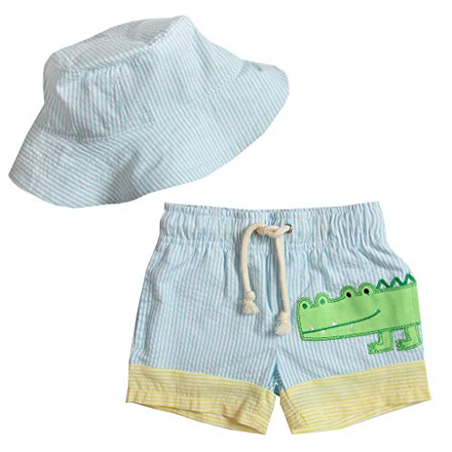 Good Lad Infant and Toddler Boys Seersucker Swimwear with Applique and Matching Seersucker Hat (4T, Turquoise)